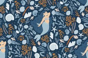 schattig naadloos patroon met zeemeerminnen, planten en schelpen