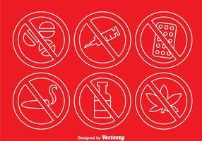 Geen drugs overzicht pictogrammen vector