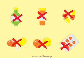 Geen Drugs Flat Icons vector