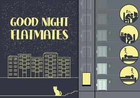 Gratis City Night Illustratie met Sleeping People Pictogrammen vector