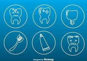 Tandenverzorging Tin Outline Pictogrammen vector