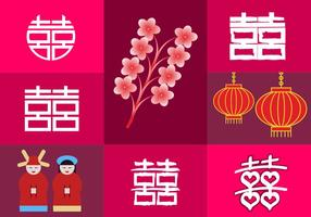 Double Happiness Elements China Illustraties