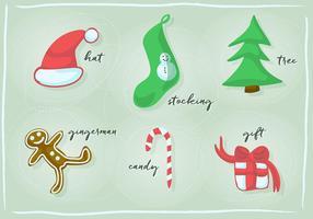 Gratis Kerst en Nieuwjaar Retro Vector Design Element Collection