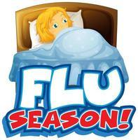 griepseizoen met ziek meisje in bed vector