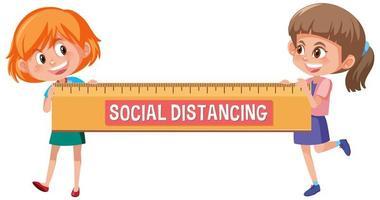 sociale afstand met twee gelukkige meisjes met een grote liniaal
