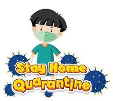 blijf thuis quarantaine met jongen die masker draagt vector