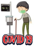 covid-19 thema met oude man in ziekenhuis