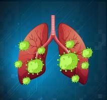 menselijke longen met covid-19-cellen