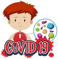 covid-19 in de longen van de jongen vector