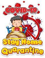 blijf thuis quarantaine met jongen in bed vector