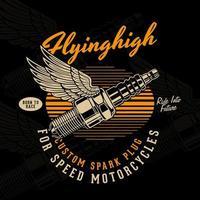 motorfiets bougie met vleugels vector