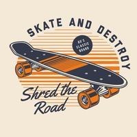 Klassiek skateboard uit de jaren 80 vector