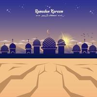 ramadan moskee silhouet in de woestijn