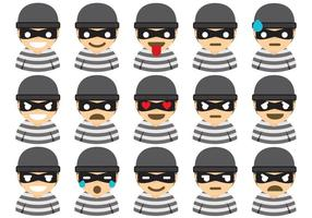 Robber emoticons vector