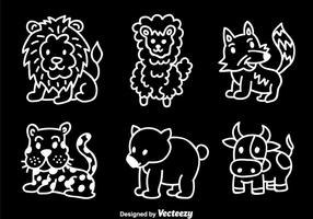 Dieren hand tekenen vector set
