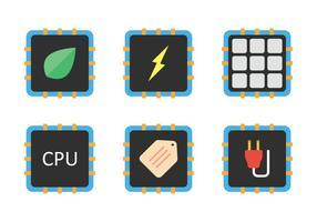 Cpu icon set vector