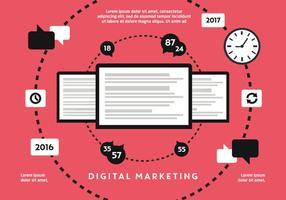 Gratis Flat Digital Marketing Vector Achtergrond Met Touch Screen Tablet