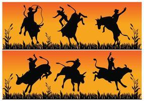 Bull riding silhouet vector