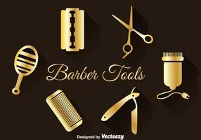 Gouden kapper gereedschap set vector