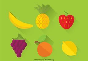 Verse Tropische Vruchten Platte Pictogrammen vector