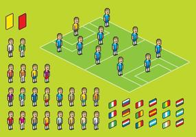 Pixel voetballer vectoren