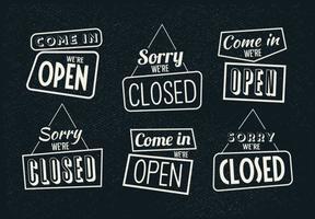Vintage teken open en gesloten vectoren