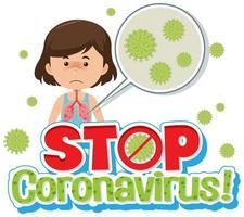 ziek meisje met coronavirus