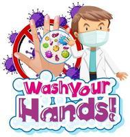 coronavirus thema was je handen ontwerp