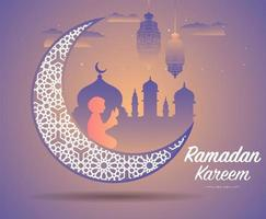 ramadan kareem groet met grote sierlijke wassende maan vector
