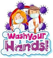coronavirus thema met woord was je handen
