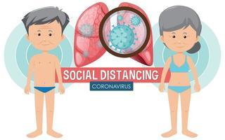 coronavirus ouderen getroffen en sociale afstand vector