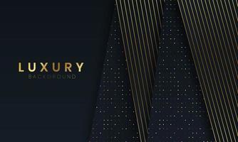luxe zwarte achtergrond met gouden stippen en lijnen vector