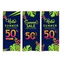 verzameling van kleurrijke zomer banners vector