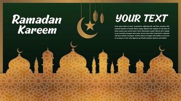 goudpatroon en groen. ramadan kareem groet