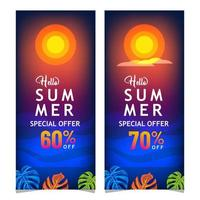 zomer nacht verkoop banner set vector