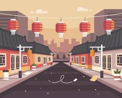 chinatown achtergrond illustratie na uitbraak van het coronavirus