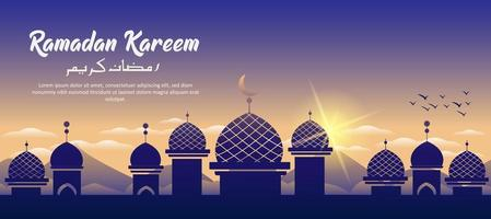 ramadan kareem moskee bouwen vector