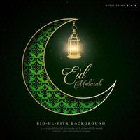 groene halve maan ramadan eid ul fitr achtergrond vector
