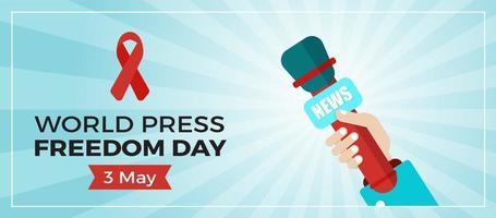 blauwe banner voor de werelddag van de persvrijheid