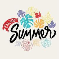 geniet van zomer belettering met bladeren illustratie