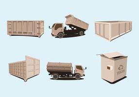 Dumpster trucks vector