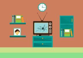 Gratis Gebarsten TV-scherm Vectorillustratie