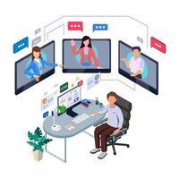 man thuiswerken in een online vergadering