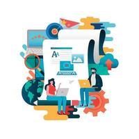 creatief schrijven concept met man en vrouw op laptops vector