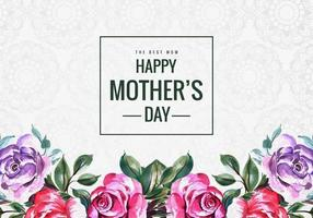 gelukkige moederdag aquarel bloemplaat vector