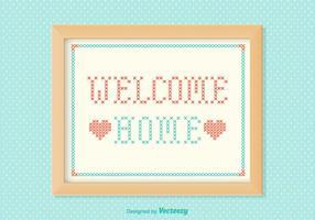 Gratis Welkom Home Borduurvector vector