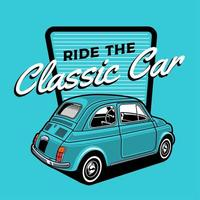 kleine blauwe klassieke auto-ontwerp