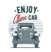 vooraanzicht van vintage auto op retro achtergrond