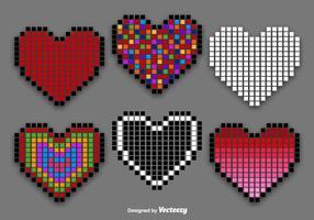 Pixel hart vector set