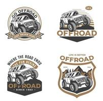 off-road voertuig badge set vector